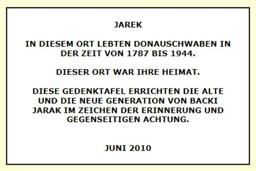 Picture 12 – The German text of the new Jarek Memorial plaque in the foyer of the town hall in Bački Jarak.