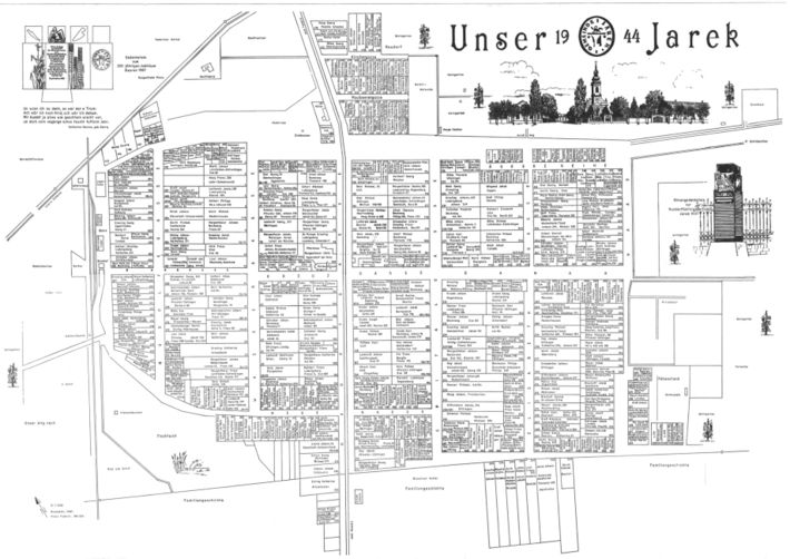 Picture 8 - Street plan of Jarek in 1944 (not oriented) drawn by Franz Fuderer (+). (Northern direction is into the left side above.)