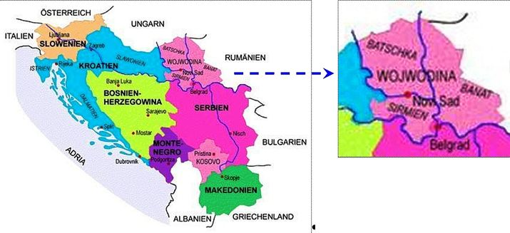 Picture 1 - Map of the former Yugoslavia and now Serbia with the Vojvodina (in the year 2006).